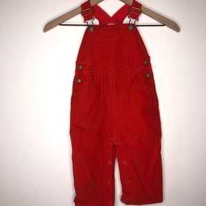 Baby Boden Red Corduroy Wide Leg Snap Overalls
